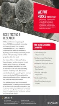 Flyer image for Rock Testing & Research